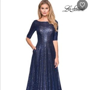 La Femme Sequin Evening Gown
